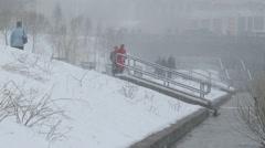 Winter, bad weather. People. Yekaterinburg. Russia Stock Footage