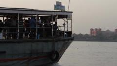 Ferry boat crosses the Ganga to Howrah, Calcutta. Stock Footage