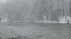 Panarama riverbank in the snow. Ekaterinburg. Russia. 1280x720 Stock Footage