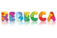 Vector rebecca written with alphabet puzzle Stock Illustration