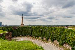 Belgrade fortress and Kalemegdan park with Victor monument - stock photo