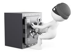 3d white people. robber stealing a safe - stock illustration