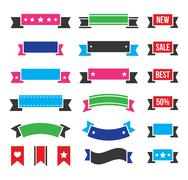 Retro ribbons, colorful vintage bookmarks set - vector Stock Illustration
