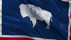 US state flag of Wyoming seamless loop Stock Footage