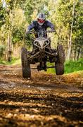 Quad rider jumping Stock Photos