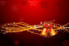 Stock Illustration of Christmas background with golden jingle bell