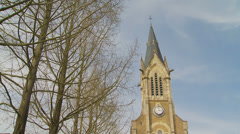 Church in the village Flers, Normandy Stock Footage