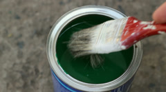 Paint Brush And Can Of Paint Stock Footage