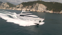 Aerial view of luxury yacht navigating - stock footage