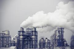 Savu saastuminen tuottaa suuri tehdas Kuvituskuvat