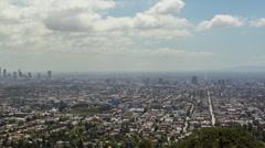 Wide Pan Showing LA Skyline in HD Stock Footage