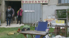 Brocante, a French flea market Stock Footage
