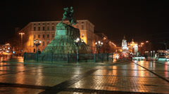 Monument to Khmelnitsky in Kiev, Ukraine Stock Footage