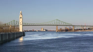 Stock Video Footage of Montreal Jacques Cartier Bridge & Clock Tower