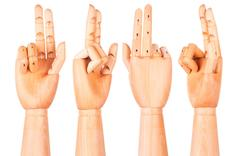 Wooden hand is showing two fingers Stock Photos