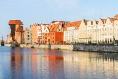 Medieval old town embankment, Gdansk - stock photo