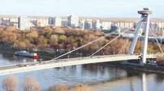 SNP bridge (UFO bridge) in Bratislava Stock Footage