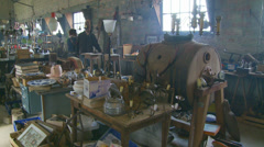 Searching for treasure in barn, Normandy Stock Footage