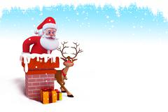 Santa claus inside the chimney Stock Illustration