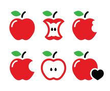 Red apple, apple core, bitten, half vector icons - stock illustration