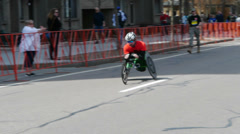 Wheelchair Racer Boston Marathon - stock footage
