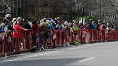 Attractive Blond Marathon Runner Boston 2014 Stock Footage