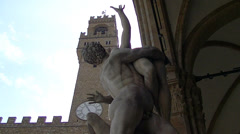 Florence, Loggia dei Lanzi with The Rape of the Sabine Women. Stock Footage