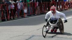 Wheelchair Female Racer Stock Footage