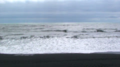 Volcanic black sand beach in North Atlantic (color corrected) Stock Footage