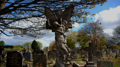 Graveyard. Cemetery. Time-lapse. Angel Statue Stock Footage