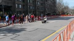 Wheelchair Contestant American Flag Boston Marathon 2014 Stock Footage