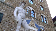 Entrance with Michelangelo's David Stock Footage
