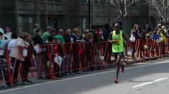African American Runner Boston Marathon 2014 Stock Footage