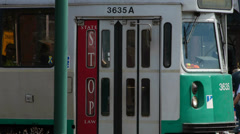 Boston Green Line Trolley Stopped Stock Footage