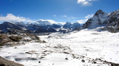 Movement of the clouds on the mountains Everest, Renjo Pass. Himalayas Stock Footage