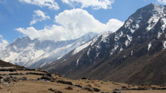 Movement of the clouds on the mountains Kongde Ri, Himalayas, Nepal. Stock Footage