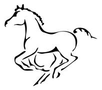 black and white vector outlines of galloping foal - stock illustration