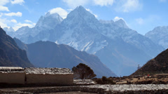 Movement of the clouds on the mountains Thamserku, Kantaiga, Himalayas, Nepal Stock Footage