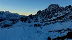 Timelapse sunrise in the mountains Pharilapche peak, Himalayas, Nepal.  - stock footage
