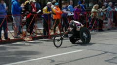 Stock Video Footage of Exhausted Wheelchair Racer Boston Marathon