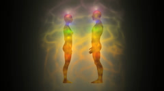 Silhouette of woman and man with aura and energetic body Stock Footage