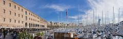 High Resolution Panoramic View of Barcelona harbour Stock Photos