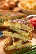 spanish tortilla omelette slices - stock photo