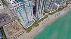 Beachfront condos Sunny Isles aerial video Stock Footage