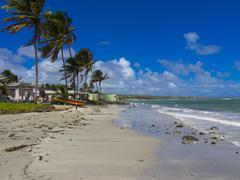 Caribbean, Antilles, Lesser Antilles, Saint Lucia, Derriere Morne, beach and Stock Photos