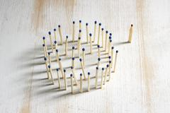 Matches, Concept individuality Stock Photos