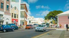Front Street in Hamilton, Bermuda Stock Footage