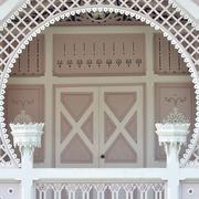 Classic white european entrance. Stock Photos