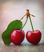fresh red cherries - stock photo