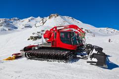 Machines for skiing slope preparations at Bad Hofgastein Austria Stock Photos